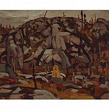 ALEXANDER YOUNG JACKSON, O.S.A., R.C.A., ROCKS, 1914, oil on panel, 8.5 ins x 10.5 ins; 21.6 cms x 26.7 cms