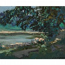 JAMES EDWARD HERVEY MACDONALD, O.S.A., R.C.A., HUMBER RIVER, oil on board, 5.75 ins x 7 ins; 14.6 cms x 17.8 cms