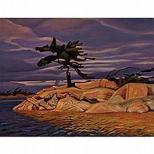 CHARLES FRASER COMFORT, O.S.A., P.R.C.A., THE PEEP-HOLE TREE, GEORGIAN BAY, oil on canvas, 20 ins x 26 ins; 50.8 cms x 66 cms