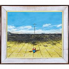 WILLIAM KURELEK, R.C.A., MYSTIC PRAIRIE THEME, 1976, mixed media on masonite, 16 ins x 19 ins; 40 cms x 47.6 cms
