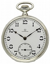 A SOLID SILVER KEYLESS WIND OMEGA POCKET WATCH