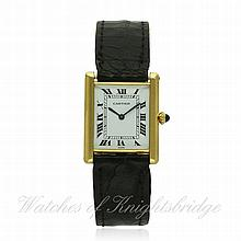 A GENTLEMAN'S 18K SOLID GOLD CARTIER PARIS TANK WR