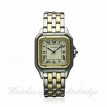 A GENTLEMAN'S STEEL & SOLID GOLD TWO ROW CARTIER P
