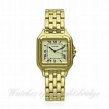 A GENTLEMAN'S 18K SOLID GOLD CARTIER PANTHERE BRAC