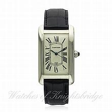A GENTLEMAN'S 18K SOLID WHITE GOLD CARTIER TANK AM