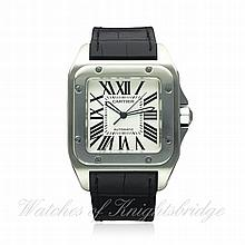 A GENTLEMAN'S STAINLESS STEEL CARTIER SANTOS 100 W