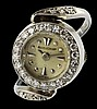 A RARE LADIES 18K SOLID WHITE GOLD & DIAMOND JAEGER LECOULTRE RING WATCH