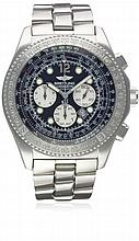 A GENTLEMAN'S STAINLESS STEEL BREITLING B-2 AUTOMATIC CHRONOGRAPH BRACELET