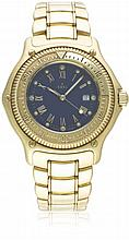 A GENTLEMAN'S 18K SOLID GOLD EBEL DISCOVERY DIVERS AUTOMATIC BRACELET WATCH