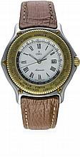 A GENTLEMAN'S STEEL & GOLD EBEL VOYAGER WORLD TIME AUTOMATIC WRIST WATCH CI