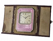 A SOLID SILVER & PINK ENAMEL DESK / TRAVEL CLOCK CIRCA 1930s, REF. 54234 IN