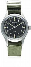 A GENTLEMAN'S STAINLESS STEEL HAMILTON GENERAL SERVICE TROPICALIZED WRIST W