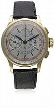 A GENTLEMAN'S 18K SOLID GOLD LONGINES FLYBACK CHRONOGRAPH WRIST WATCH CIRCA