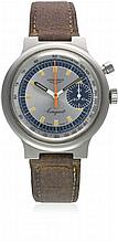 A GENTLEMAN'S STAINLESS STEEL LONGINES CONQUEST SINGLE BUTTON CHRONOGRAPH W