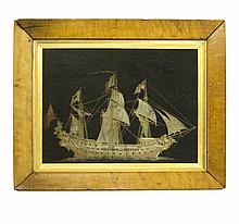 A Silk Embroidery of a Ship