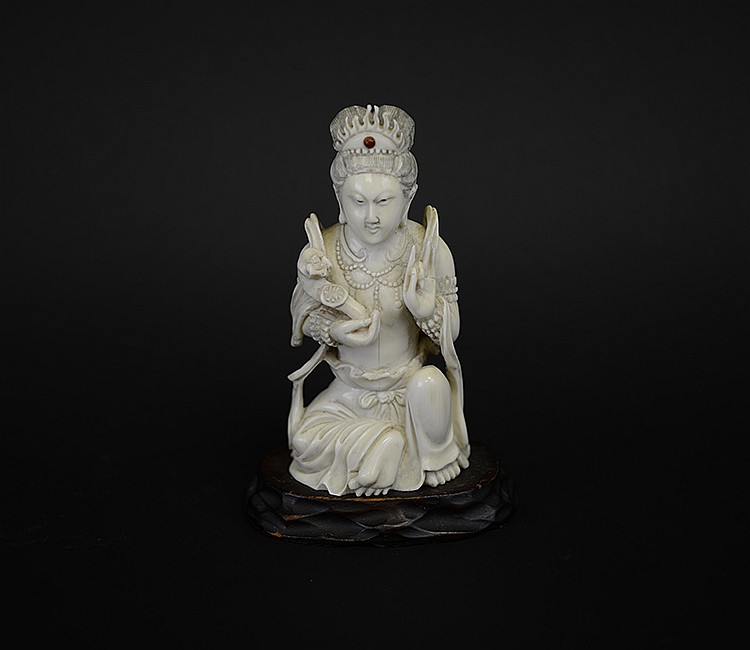 19th Century Chinese Seated Ivory Figure of Guanyin