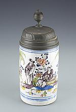 A Hand-Painted Ceramic and Pewter Beer Stein