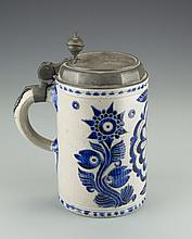 A Ceramic Blue and White Beer Stein, 18th Century