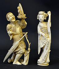 A Pair of Late 19th C. Japanese Ivory Figures