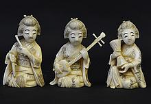 A Group of Late 19th C. Japanese Ivory Figures