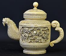 A 19th Century Chinese Carved Ivory Teapot