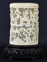 A 19th Century Chinese Ivory Brush Pot