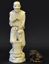 A 19th C. Japanese Ivory Figure and Netsuke