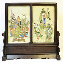 A Chinese Table Screen with Paintings