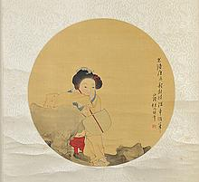 Chinese Painted Fan Leaf, attr. to Red Bonian