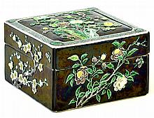 A Chinese Famille Noire Covered Box, Kangxi