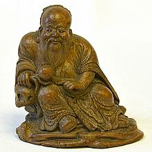A Chinese Bamboo Carving of Shou Lao