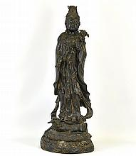 A Chinese Bronze Statue of Guanyin