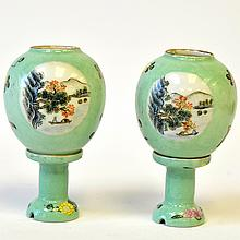 Pair of Miniature Chinese Porcelain Lanterns