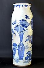 17th C. Chinese Blue & White Porcelain Sleeve Vase