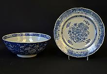 A Chinese Blue and White Porcelain Bowl and Dish
