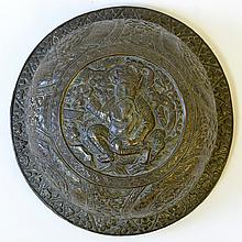 A Chinese Carved Bronze Ginger Jar Lid