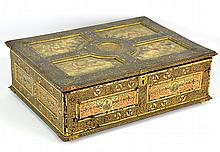 A Continental Painted Wood & Leather Bible Box
