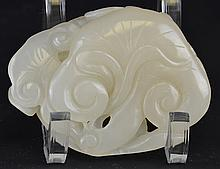 A Chinese Carved Jade Model of Lingzhi Sprigs