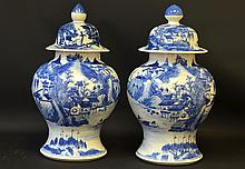 A Pair of Chinese Blue and White Ginger Jars