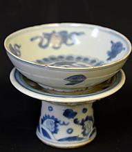 Chinese Blue and White Porcelain Dish & Stand
