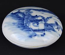 A Chinese Porcelain Blue and White Ink Pot