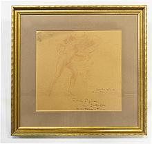 Everett Shinn (American, 1876-1953), Nude with Drapery