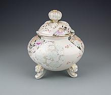 A Japanese Porcelain Lidded Tripod Censer