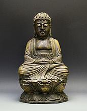 A Japanese Wooden Amida Buddha