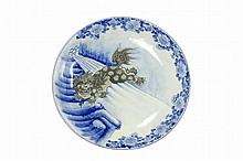 A Large Japanese Blue and White Porcelain Dish