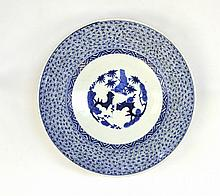 A Japanese Arita Blue and White Large Dish