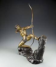 A Cast Bronze Figure of an Archer