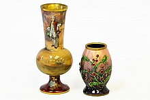 A Pair of French Enameled Brass Vases