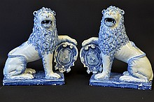Pair of 19th C. English Delft Ware Lions
