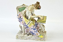 A Continental Porcelain Spinet Player